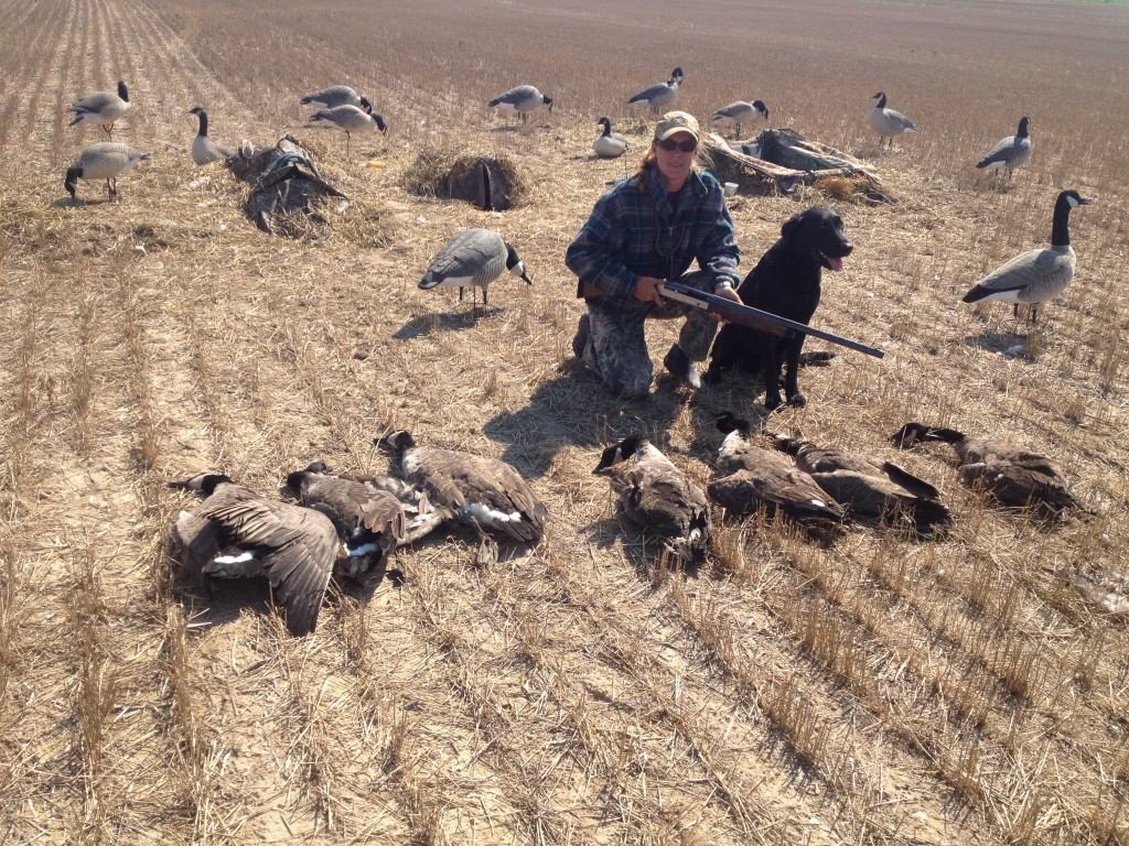 Tera Lanczak & Cal Crumby hunting for geese during the early season. Cal's third hunt was the charmer!