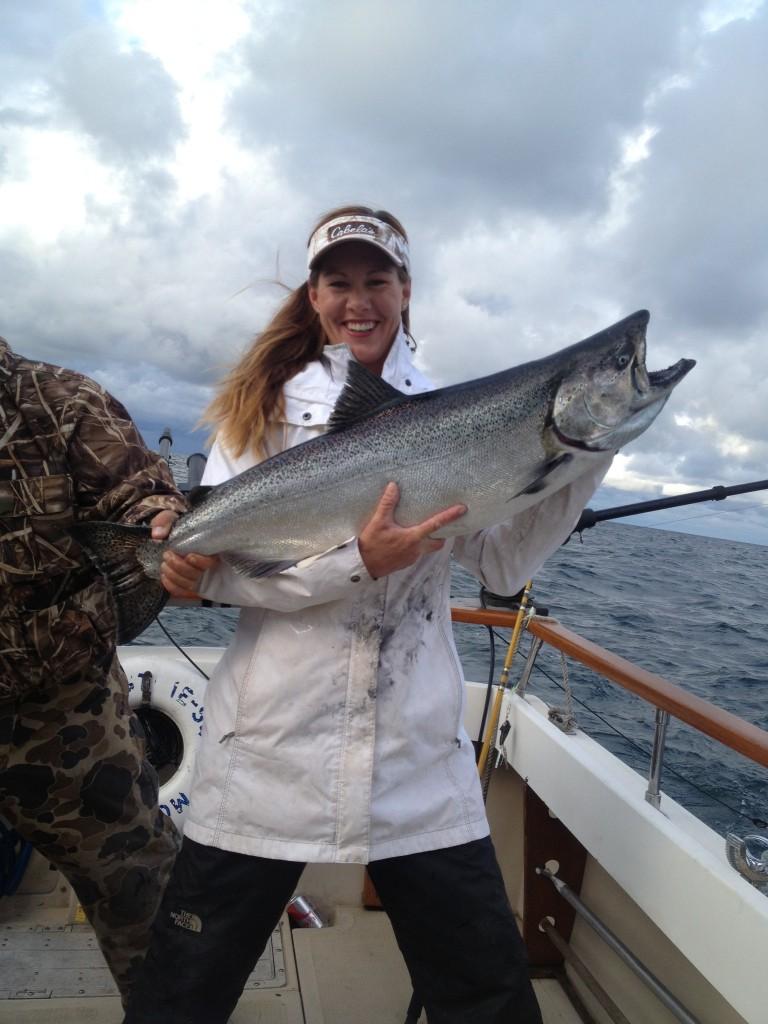 Tera Salmon fishing in Lake Michigan.